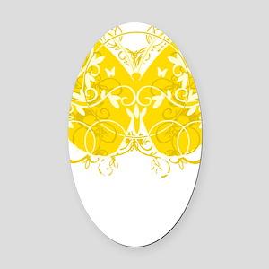 Bladder-Cancer-Butterfly-blk Oval Car Magnet