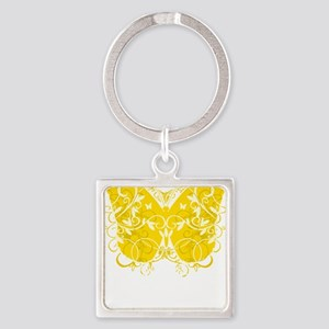 Bladder-Cancer-Butterfly-blk Square Keychain