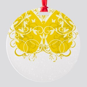 Bladder-Cancer-Butterfly-blk Round Ornament