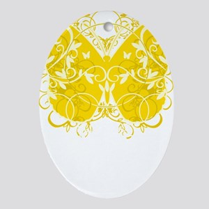 Bladder-Cancer-Butterfly-blk Oval Ornament