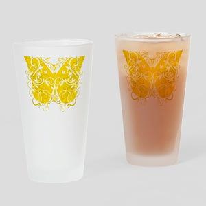 Bladder-Cancer-Butterfly-blk Drinking Glass