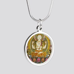 chenrizig Silver Round Necklace