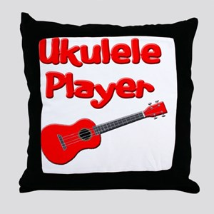 red ukulele Throw Pillow