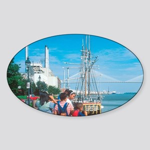 Savannah. Riverfront and port with  Sticker (Oval)