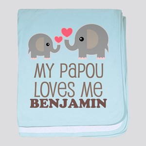 My Papou Loves Me Personalized baby blanket