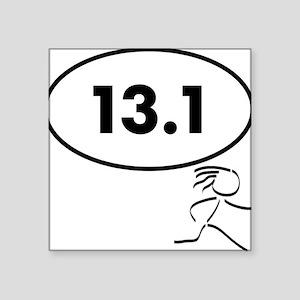"13 Oval w figure V2 Square Sticker 3"" x 3"""