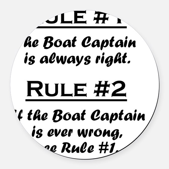 Rule Boat Captain Round Car Magnet