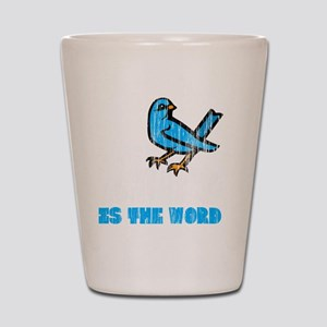 Word Bird blk Shot Glass