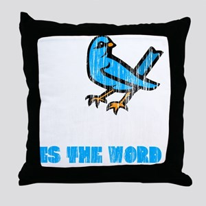 Word Bird blk Throw Pillow
