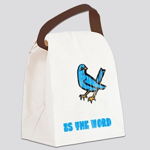 Word Bird blk Canvas Lunch Bag