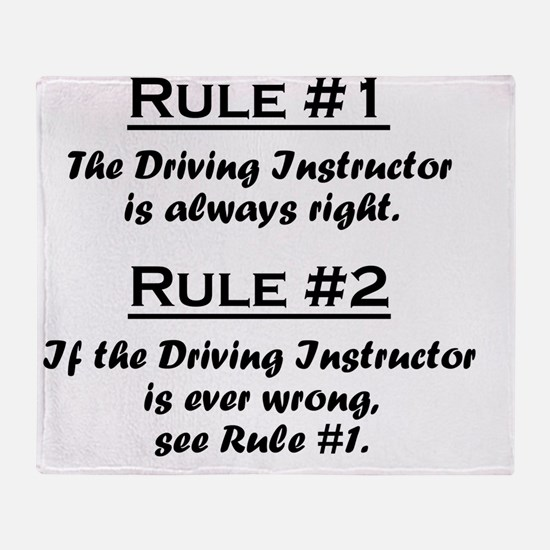 Rule Driving Instructor Throw Blanket