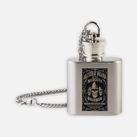 ALCATRAZ ISLAND BADGUYS STICKER Flask Necklace