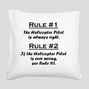 Rule Helicopter Pilot Square Canvas Pillow
