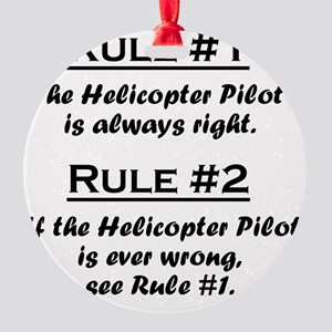 Rule Helicopter Pilot Round Ornament