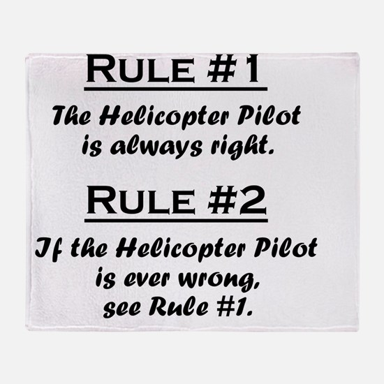 Rule Helicopter Pilot Throw Blanket
