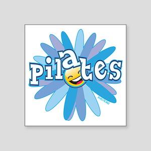 "pilates smiley flower blue  Square Sticker 3"" x 3"""