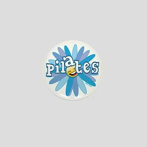 pilates smiley flower blue copy Mini Button