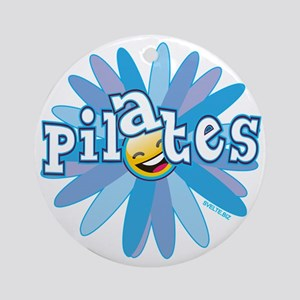 pilates smiley flower blue copy Round Ornament