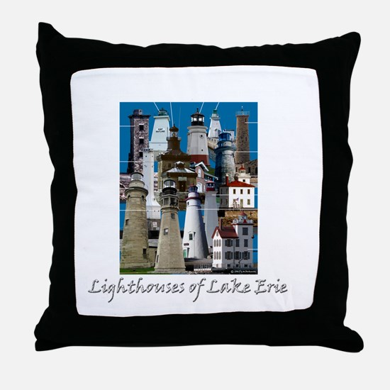 Lake Erie Dark Throw Pillow