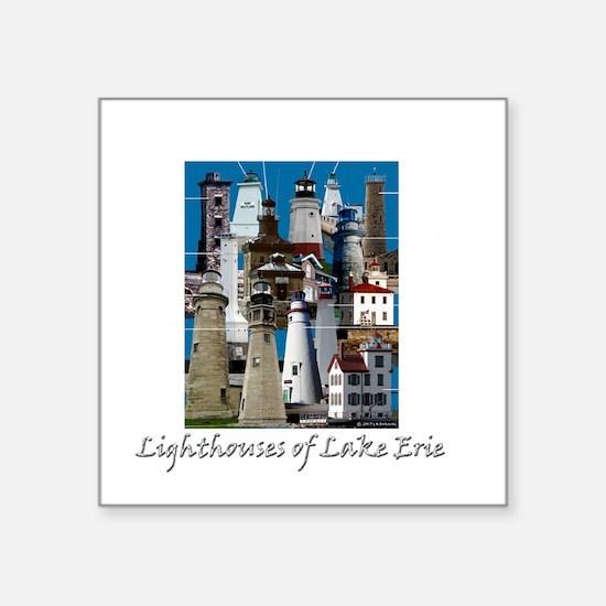 "Lake Erie Dark Square Sticker 3"" x 3"""