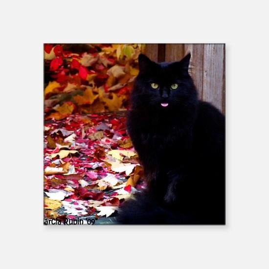 "calendar kitty with an atti Square Sticker 3"" x 3"""