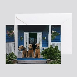 3 Airedale on Porch Greeting Card
