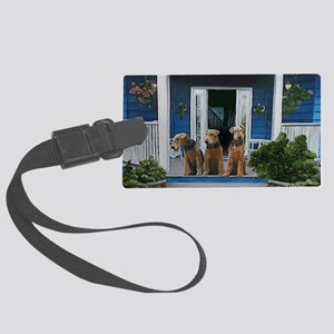 3 Airedale on Porch Large Luggage Tag