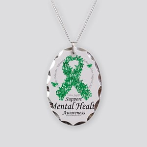 Mental-Health-Ribbon-of-Butter Necklace Oval Charm
