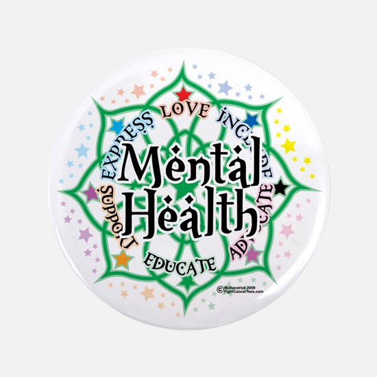 "Mental-Health-Lotus 3.5"" Button"