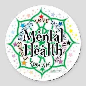 Mental-Health-Lotus Round Car Magnet