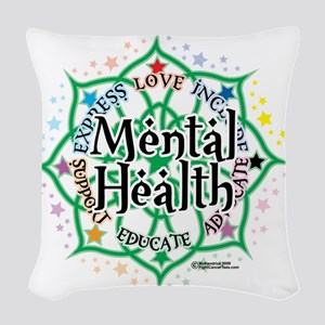 Mental-Health-Lotus Woven Throw Pillow