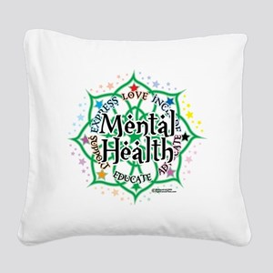 Mental-Health-Lotus Square Canvas Pillow