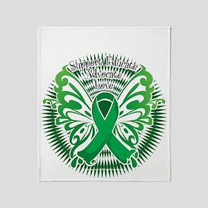 Mental-Health-Butterfly-3-blk Throw Blanket
