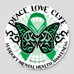 Mental-Health-Butterfly-Tribal-2 Round Car Magnet