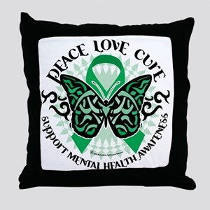 Mental-Health-Butterfly-Tribal-2 Throw Pillow