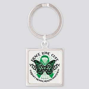Mental-Health-Butterfly-Tribal-2 Square Keychain
