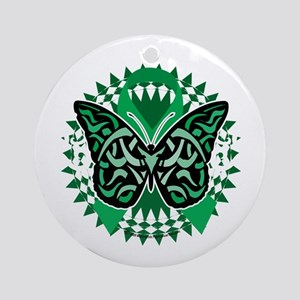 Mental-Health-Butterfly-Tribal-2-bl Round Ornament