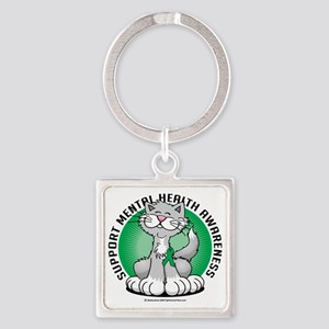 Paws-for-Mental-Health-Cat Square Keychain