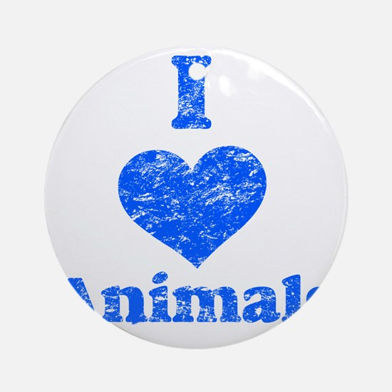 I Heart Animals distressed blue Round Ornament