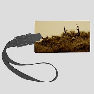 sepia mule deer Large Luggage Tag