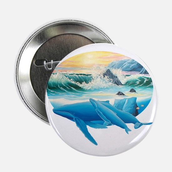 """whales and sunset 2.25"""" Button"""