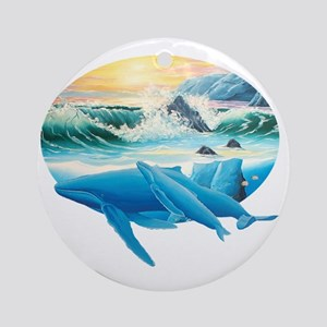 whales and sunset Round Ornament