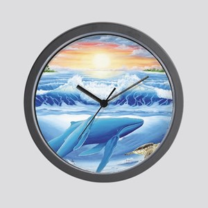 whales and turtle Wall Clock