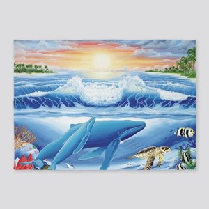 whales and turtle 5'x7'Area Rug