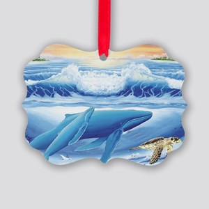 whale and turtle long  Picture Ornament