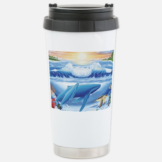 whale and turtle long  Stainless Steel Travel Mug