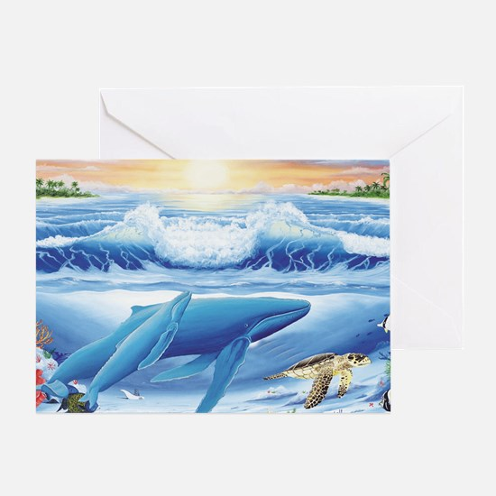 whale and turtle long  Greeting Card