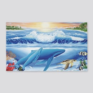 whale and turtle long  3'x5' Area Rug