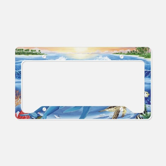 whale and turtle long  License Plate Holder
