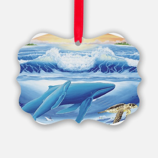 whale and turtle oval  Ornament